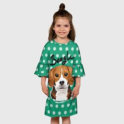 Платье клеш для девочки Beagle Face цвета 3D-принт — фото 2