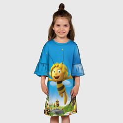Платье клеш для девочки Пчелка Майя цвета 3D-принт — фото 2
