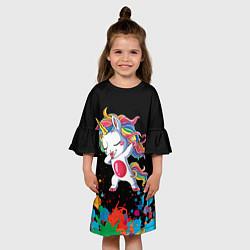 Платье клеш для девочки Малыш-единорог цвета 3D — фото 2