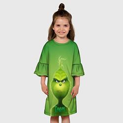 Платье клеш для девочки Гринч цвета 3D-принт — фото 2