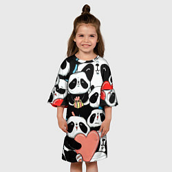 Платье клеш для девочки Панды цвета 3D — фото 2