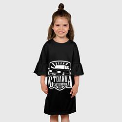Платье клеш для девочки Столица суетологов цвета 3D-принт — фото 2