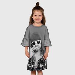 Платье клеш для девочки Кобейн в очках цвета 3D-принт — фото 2