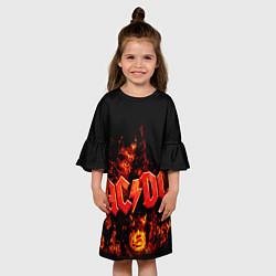 Платье клеш для девочки AC/DC Flame цвета 3D-принт — фото 2