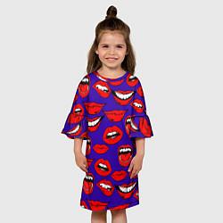 Платье клеш для девочки Губы цвета 3D — фото 2
