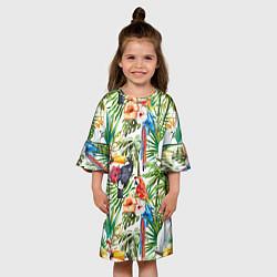 Платье клеш для девочки Попугаи в тропиках цвета 3D-принт — фото 2