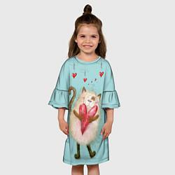 Платье клеш для девочки Котик цвета 3D — фото 2