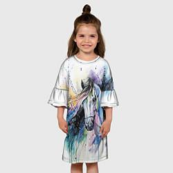 Платье клеш для девочки Акварельная лошадь цвета 3D-принт — фото 2