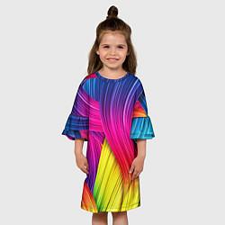 Платье клеш для девочки Абстракция цвета цвета 3D-принт — фото 2