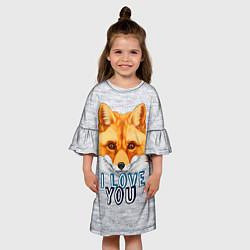 Платье клеш для девочки Милая лисичка! цвета 3D — фото 2