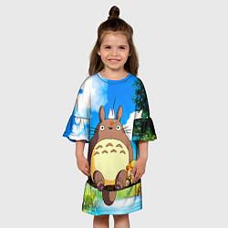 Платье клеш для девочки Тоторо и компания цвета 3D — фото 2