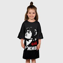 Платье клеш для девочки Цой жив цвета 3D — фото 2