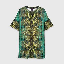 Платье клеш для девочки Крокодил цвета 3D-принт — фото 1