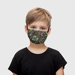 Маска для лица детская Камуфляж: хаки/зеленый цвета 3D — фото 1