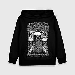 Толстовка-худи детская Amon Amarth: Trio Skulls цвета 3D-черный — фото 1