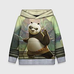 Толстовка-худи детская Кунг фу панда цвета 3D-меланж — фото 1