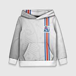Толстовка-худи детская Сборная Исландии по футболу цвета 3D-белый — фото 1