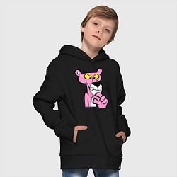 Толстовка оверсайз детская Розовая пантера цвета черный — фото 2