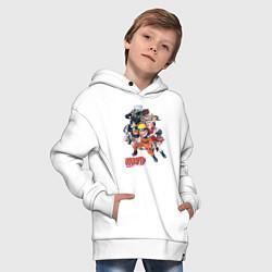 Детская хлопковая толстовка оверсайз с принтом Naruto, цвет: белый, артикул: 10010981106093 — фото 2
