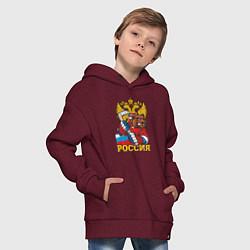 Толстовка оверсайз детская Хоккей! Россия вперед! цвета меланж-бордовый — фото 2