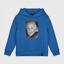 Толстовка оверсайз детская Энштейн дурачится цвета синий — фото 1