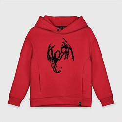 Толстовка оверсайз детская Korn bones цвета красный — фото 1