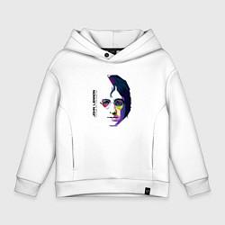 Толстовка оверсайз детская John Lennon: Techno цвета белый — фото 1