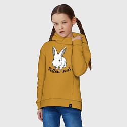 Толстовка оверсайз детская Rabbit: follow me цвета горчичный — фото 2