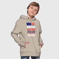 Толстовка оверсайз детская The Beatles Revolution цвета миндальный — фото 2
