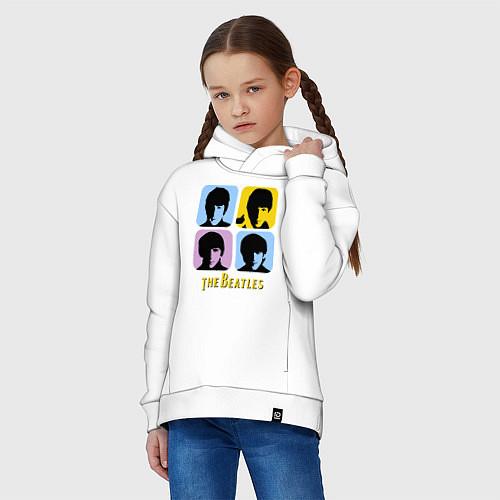 Детское худи оверсайз The Beatles: pop-art / Белый – фото 3