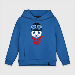 Толстовка оверсайз детская Панда байкер цвета синий — фото 1