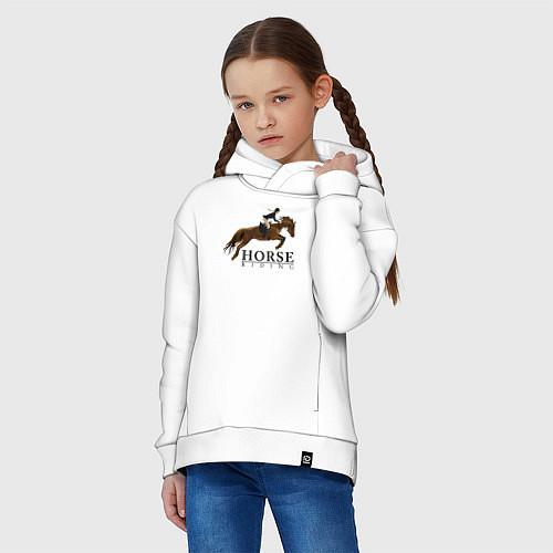 Детское худи оверсайз HORSE RIDING / Белый – фото 3