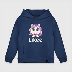 Толстовка оверсайз детская Likee LIKE Video цвета тёмно-синий — фото 1