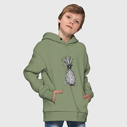 Толстовка оверсайз детская Ананас Моргенштерна цвета авокадо — фото 2