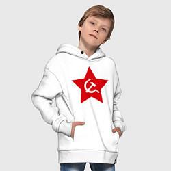 Толстовка оверсайз детская Звезда с серпом и молотом цвета белый — фото 2