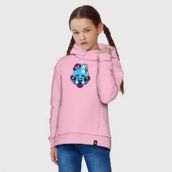 Толстовка оверсайз детская SQUEAK ICON 1 цвета светло-розовый — фото 2