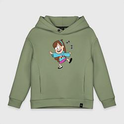 Толстовка оверсайз детская Поющий свитер Мэйбл цвета авокадо — фото 1