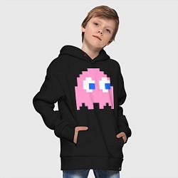 Толстовка оверсайз детская Pac-Man: Pinky цвета черный — фото 2