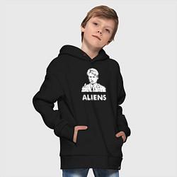Толстовка оверсайз детская Mulder Aliens цвета черный — фото 2
