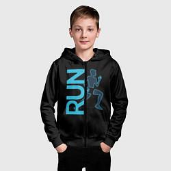 Толстовка на молнии детская RUN: Black Style цвета 3D-черный — фото 2