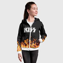 Толстовка на молнии детская Kiss: Hell Flame цвета 3D-белый — фото 2