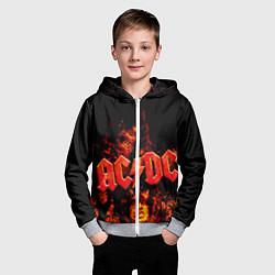 Толстовка на молнии детская AC/DC Flame цвета 3D-меланж — фото 2