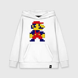 Толстовка детская хлопковая Pixel Mario цвета белый — фото 1