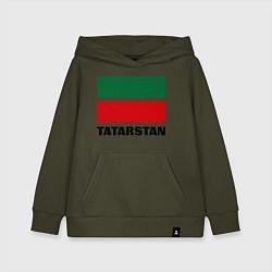 Толстовка детская хлопковая Флаг Татарстана цвета хаки — фото 1