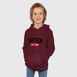 Толстовка детская хлопковая FC Inter Est. 1908 цвета меланж-бордовый — фото 2