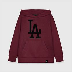 Толстовка детская хлопковая LA: Los Angeles цвета меланж-бордовый — фото 1