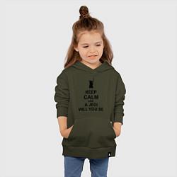 Толстовка детская хлопковая Keep Calm & A Jedi Will You Be цвета хаки — фото 2