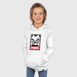 Толстовка детская хлопковая Pudge Poster цвета белый — фото 2