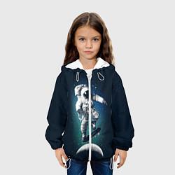 Куртка с капюшоном детская Космический скейтбординг цвета 3D-белый — фото 2