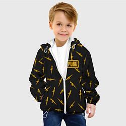 Куртка с капюшоном детская PUBG: Black Weapon цвета 3D-белый — фото 2